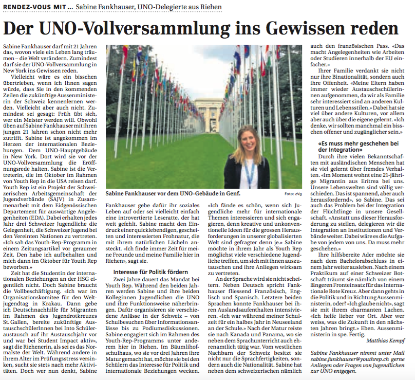 Riehener Zeitung 9. Juni 2017